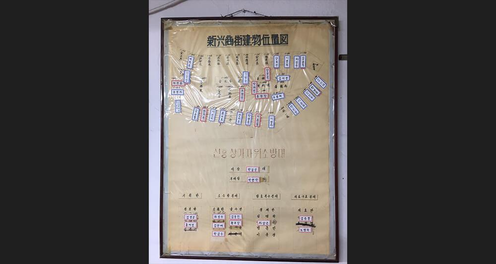 해방촌 중심지에 자리한 신흥시장 상가번영회에 걸린 게시판. 1968년 정식 허가된 신흥시장은 상가 주인이 바뀔때마다 견출지를 붙여 주인이름을 바꿨다.