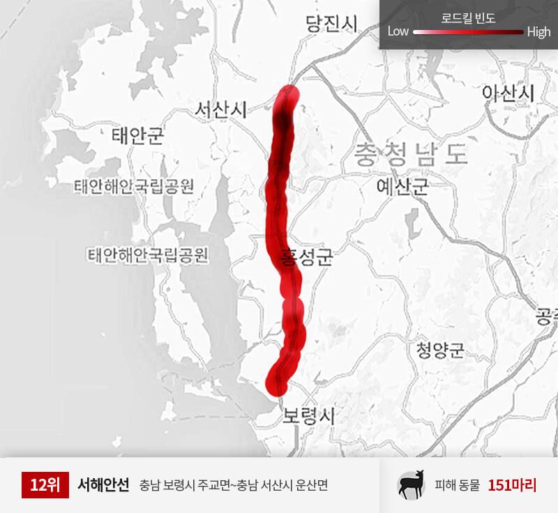 서해안선 200~250km 구간 피해 동물 151마리