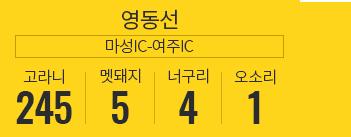 영동선 마성IC-여주IC 고라니245, 멧돼지 5, 너구리 4, 오소리 1