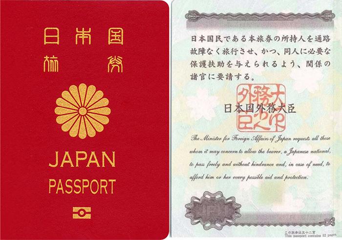 일본 여권 표지와 속지